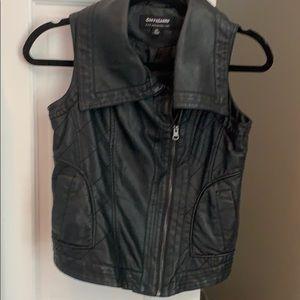 COFFEEshop black faux Leather vest XS
